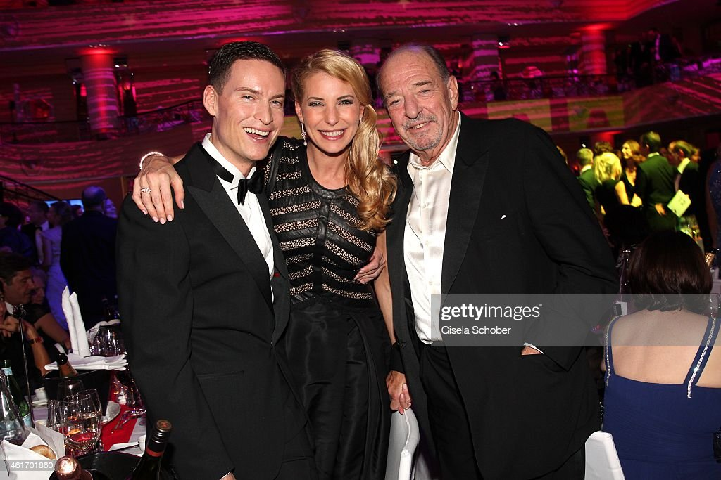 Giulia Siegel with her boyfriend Frank Buechtmann and her father Ralph Siegel (R) during the German Filmball 2015 at Hotel Bayerischer Hof on January 17, 2015 in Munich, Germany.
