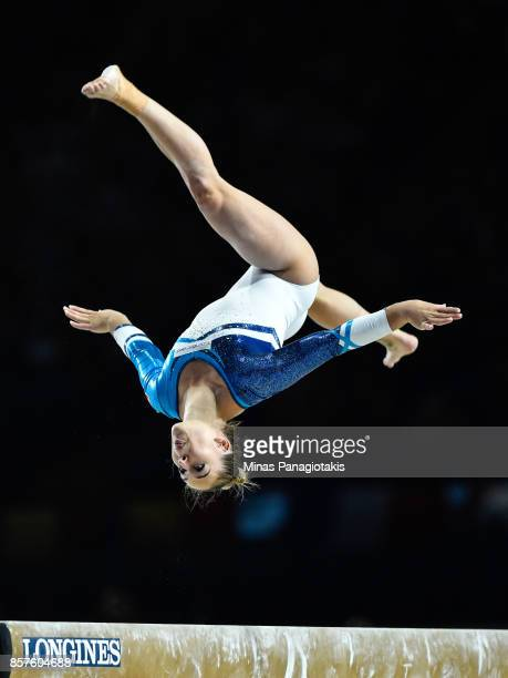 Giulia Steingruber of Switzerland competes on the balance beam during the qualification round of the Artistic Gymnastics World Championships on...