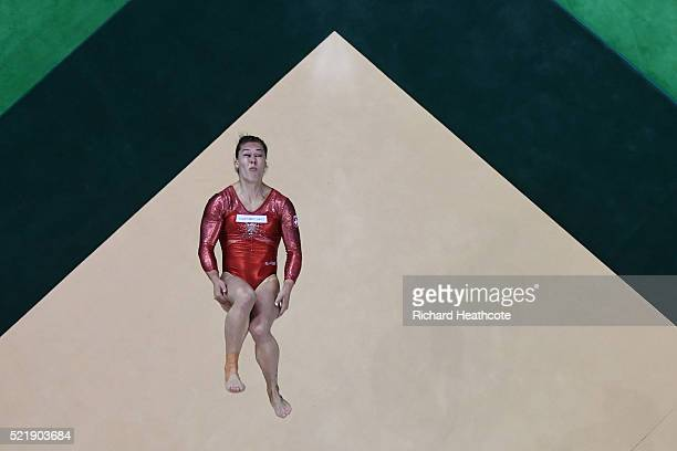 Giulia Steingruber of Switzerland competes on the floor during quailifaction in the Artistic Gymnastics Aquece Rio Test Event at the Olympic Olympic...