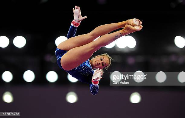 Giulia Steingruber of Switzerland competes on the Uneven Bars in the Women's Individual AllAround final on day six of the Baku 2015 European Games at...