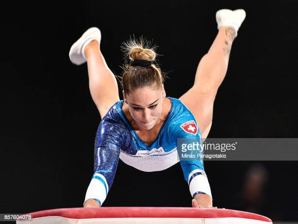Giulia Steingruber of Switzerland competes on the vault during the qualification round of the Artistic Gymnastics World Championships on October 4...