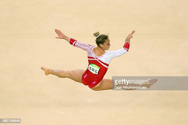 Giulia Steingruber of Switzerland competes on the Women's Floor final on Day 11 of the Rio 2016 Olympic Games at the Rio Olympic Arena on August 16...