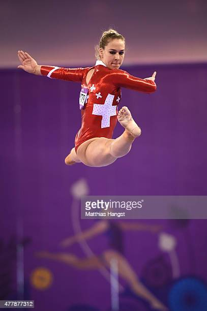 Giulia Steingruber of Switzerland completes during the Women's Beam final on day eight of the Baku 2015 European Games at the National Gymnastics...