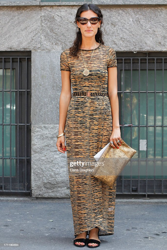 Giulia Tordini is wearing a a Missoni dress during Milan Fashion Week Menswear Spring/Summer 2014 on June 22, 2013 in Milan, Italy.