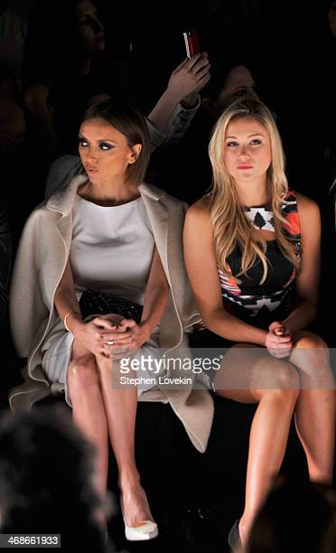 Giuliana Rancic and Katrina Bowden attend the Badgley Mischka fashion show during MercedesBenz Fashion Week Fall 2014 at The Theatre at Lincoln...