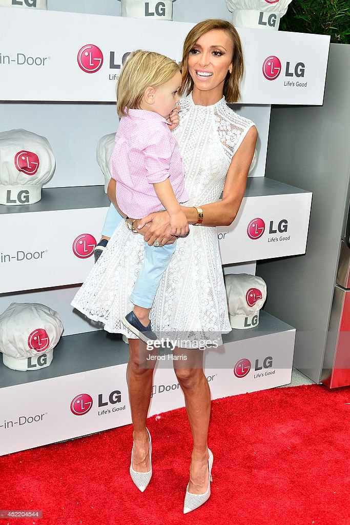 Giuliana Rancic and son Duke attend LG and Chef Sandra Lee Host LG Junior Chef Academy to celebrate the launch of the Door-in-Door Refrigerator with CustomChill, Benefiting No Kid Hungry at The Washbow on July 15, 2014 in Culver City, California.