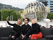 Giuliana Rancic Brad Goreski and Charissa Thompson visit 'Extra' at Universal Studios Hollywood on February 17 2016 in Universal City California