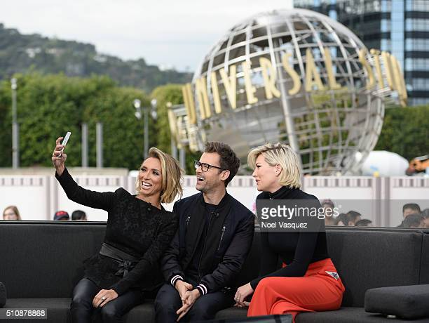 Giuliana Rancic Brad Goreski and Charissa Thompson visit 'Extra' at Universal Studios Hollywood on February 17 2016 in Universal City California