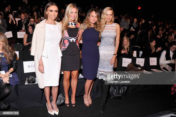 Giuliana Rancic Katrina Bowden Chrissy Teigen and Petra Nemcova attend the Badgley Mischka fashion show during MercedesBenz Fashion Week Fall 2014 at...