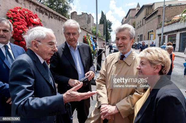 Giuliano Amato Constitutional Judge Walter Veltroni Cesare Damiano and Susanna Camusso General Secretary of the CGIL during the Commemoration by...