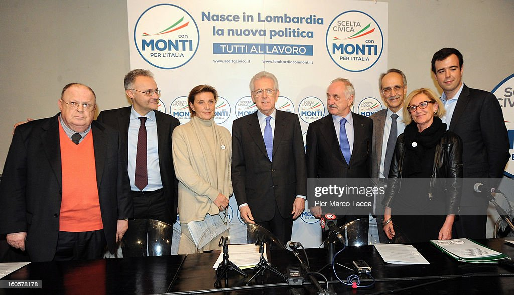 Giuliano Cazzola, Mario Mauro, Lidia Rota Vender, <a gi-track='captionPersonalityLinkClicked' href=/galleries/search?phrase=Mario+Monti&family=editorial&specificpeople=632091 ng-click='$event.stopPropagation()'>Mario Monti</a>, Alberto Bombassei, Pietro Ichino and Emanuela Baio attend the presentation of Lombardy candidates of 'Scelta Civica con Monti per l'Italia' on February 2, 2013 in Milan,to Italy.Monti used the rally to unveil the list of Lombardy candidates for the 'Civic Choice' (Scelta Civica) movement that will be running in February's parliamentary elections.