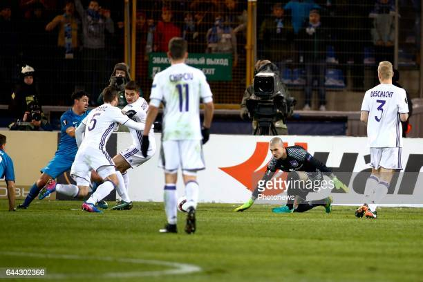 Giuliano forward of FC Zenit scores and Leander Dendoncker midfielder of RSC Anderlecht and Uros Spajic defender of RSC Anderlecht and Ruben Martinez...