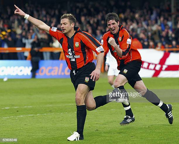 Giuliano Grazioli celebrates the winning goal with Ben Strevens behind during the Nationwide Conference match between Barnet and Halifax Town at the...