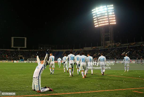 Giuliano of St Petersburg celebrates after scoring his team's second goal of the game during the UEFA Europa League Group D match between Zenit St...