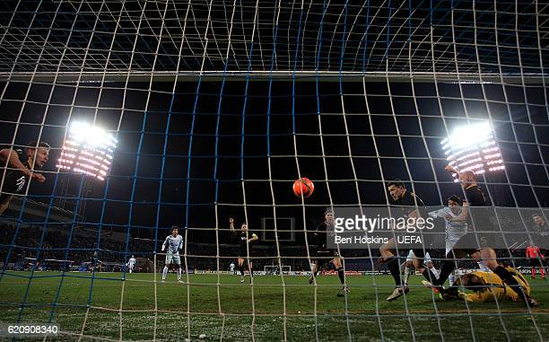 Giuliano of St Petersburg scores his team's second goal of the game during the UEFA Europa League Group D match between Zenit St Petersburg and...