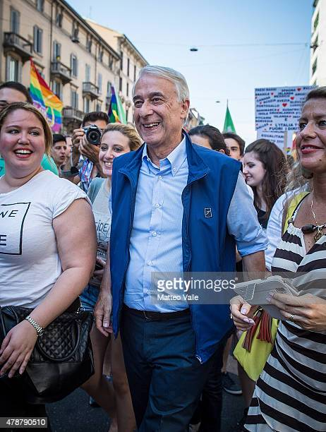 Giuliano Pisapia Mayor of Milan attends the annual Gay Pride Parade on June 27 2015 in Milan Italy Gay marriage was declared legal across the US in a...