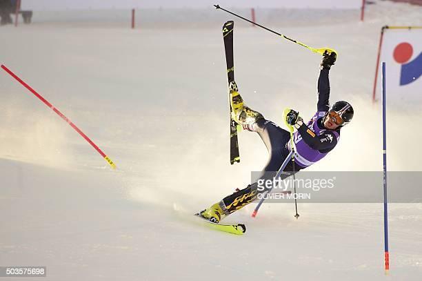 TOPSHOT Giuliano Razzoli of Italy falls during the FIS Alpine Skiing World Cup Men's Slalom on January 6 2016 in Santa Caterina di Valfurva northern...