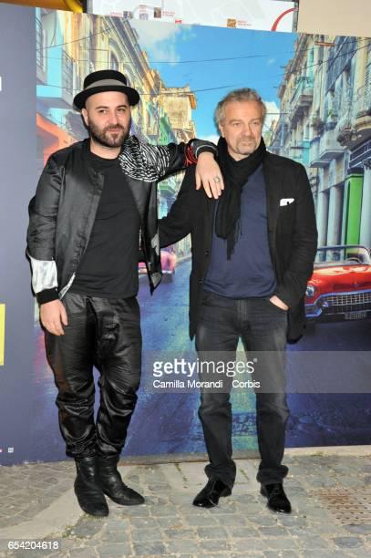 Giuliano Sangiorgi and Giovanni Veronesi walk the red carpet for 'Non e' Un Paese Per Giovani' on March 16 2017 in Rome Italy