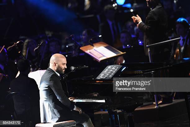 Giuliano Sangiorgi performs at Bocelli and Zanetti Night on May 25 2016 in Rho Italy