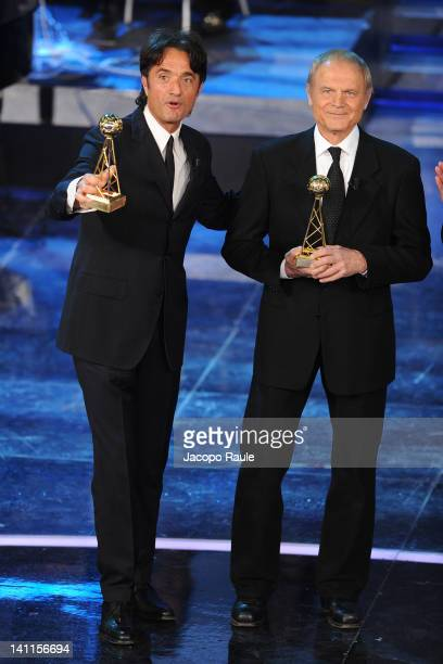 Giulio Base and Terence Hill attend 'Premio TV 2012' Ceremony Award held at Teatro Ariston on March 11 2012 in Sanremo Italy