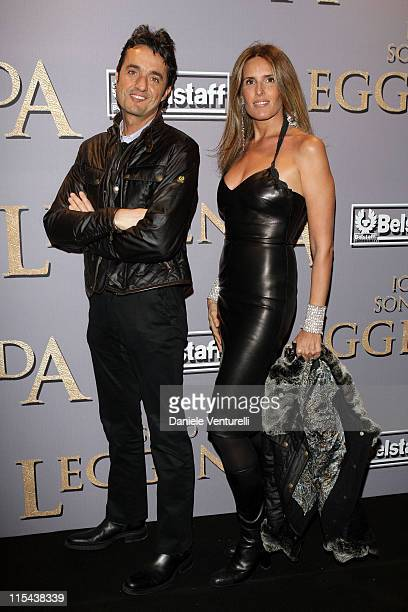 Giulio Base and Tiziana Rocca attend the premiere of 'I Am Legend' at Warner Village Cinemas Moderno on January 9 2008 in Rome Italy