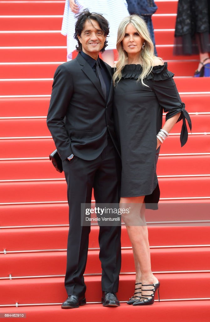 Giulio Base (L) and Tiziana Rocca attend the 'Wonderstruck' screening during the 70th annual Cannes Film Festival at Palais des Festivals on May 18, 2017 in Cannes, France.