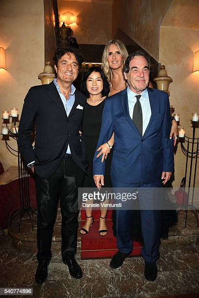 Giulio Base Tiziana Rocca Sunjung Jung and Oliver Stone attend 62 Taormina Film Fest Day 6 on June 16 2016 in Taormina Italy