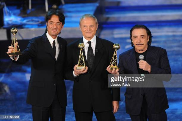 Giulio BaseTerence Hill and Nino Frassica attend 'Premio TV 2012' Ceremony Award held at Teatro Ariston on March 11 2012 in Sanremo Italy