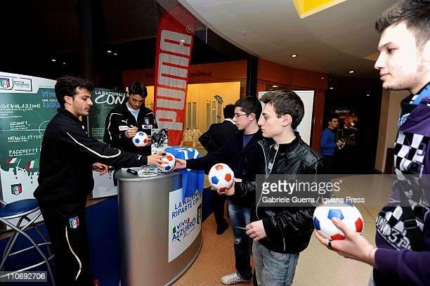 Giulio Donati and Carlo Pinsoglio of the Under 21 National Football Team meet young fans at I Petali supermarket on March 23 2011 in Reggio...