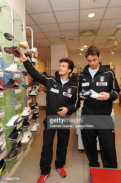 Giulio Donati and Carlo Pinsoglio of the Under 21 National Football Team looking for new shoes at I Petali supermarket on March 23 2011 in Reggio...