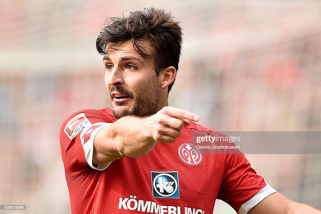 Giulio Donati of 1. FSV Mainz 05 reacts during the Bundesliga match between 1. FSV Mainz 05 and Hamburger SV at Coface Arena on April 30, 2016 in Mainz, Germany.