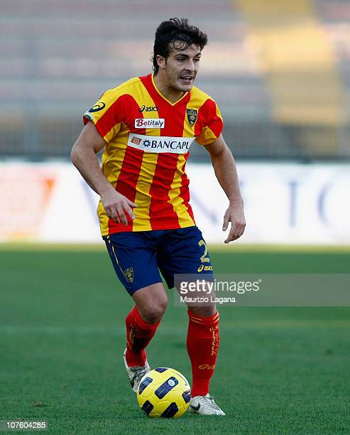 Giulio Donati of Lecce in action during the Serie A match between Lecce and Chievo at Stadio Via del Mare on December 12 2010 in Lecce Italy