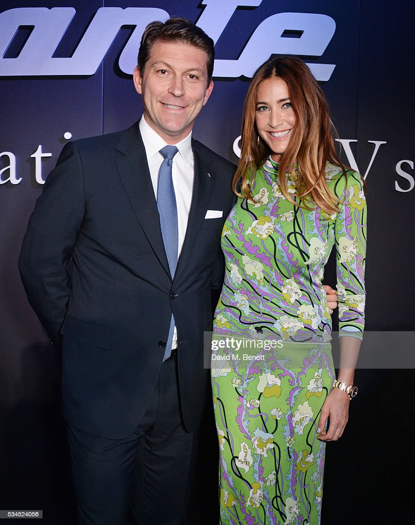 Giulio Pastore, General Manager of Maserati Europe, and <a gi-track='captionPersonalityLinkClicked' href=/galleries/search?phrase=Lisa+Snowdon&family=editorial&specificpeople=204613 ng-click='$event.stopPropagation()'>Lisa Snowdon</a> attend the UK VIP reveal of the Maserati Levante SUV at The Royal Horticultural Halls on May 26, 2016 in London, England.