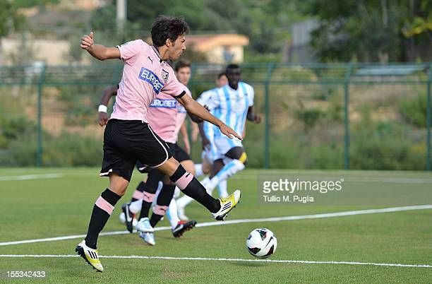Giulio Sanseverino of Palermo scores the opening goal during the Primavera Juvenile Match at Stadio Comunale on November 3 2012 in Santa Flavia near...