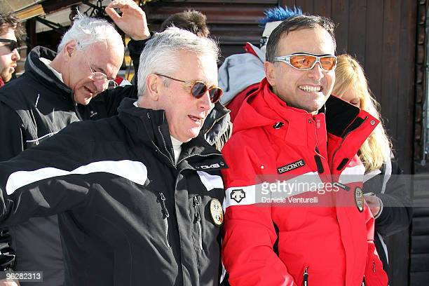 Giulio Tremonti Minister of Economy and Finance and the Italian Foreign Minister Franco Frattini attends a slalom race during the 1st Criterium On...