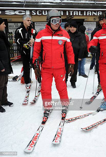 Giulio Tremonti Minister of Economy and Finance attends a slalom race during the 2st Criterium On The Snow of Italian politicians on January 29 2011...