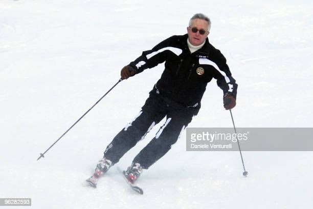 Giulio Tremonti Minister of Economy and Finance attends a slalom race during the 1st Criterium On The Snow of Italian Parliamentarists on January 30...