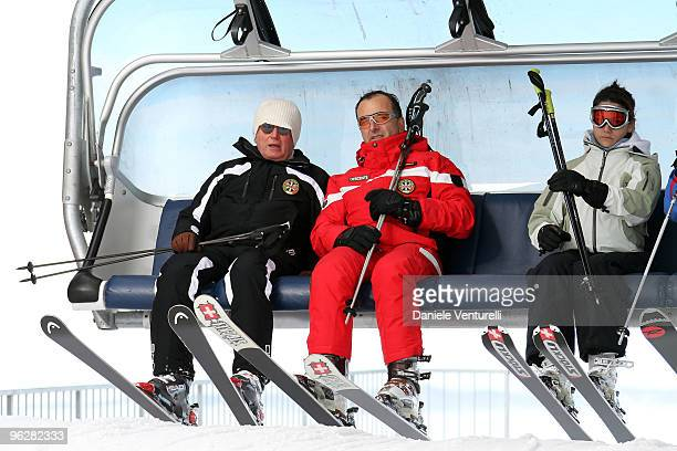 Giulio Tremonti Minister of Economy and Finance the Italian Foreign Minister Franco Frattini and Stella Coppi attend a slalom race during the 1st...