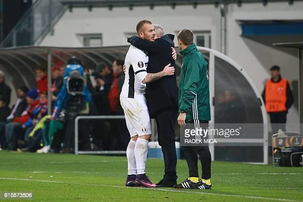 Giurgiu's Denis Alibec celebrates first goal during Europa League football match FC Viktoria Plzen v FC Astra Giurgiu at Doosan arena in Plzen on...