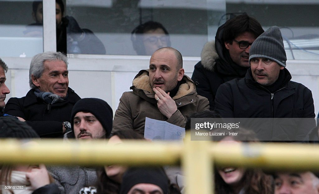 Giuseppe Baresi, Sportif Director of FC Internazionale Milano, Piero Ausilio and Roberto Samaden look on during the juvenile TIM cup match between FC Internazionale and SS Lazio at Stadio Breda on February 9, 2016 in Sesto San Giovanni, Italy.