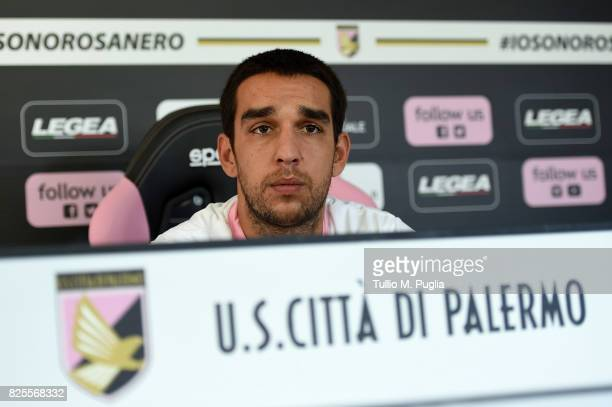 Giuseppe Bellusci answers questions during his presentation as new player of US Citta' di Palermo at Carmelo Onorato training session on August 2...