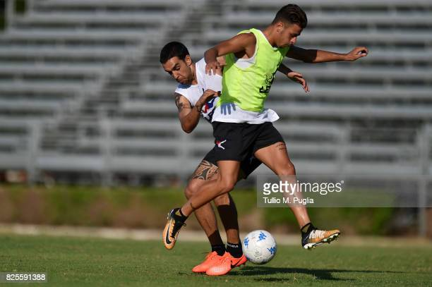 Giuseppe Bellusci Chhallenges Simone Lo Faso during a training session after his presentation as new player of US Citta' di Palermo at Carmelo...