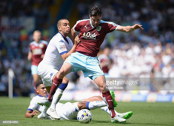 Giuseppe Bellusci of Leeds United challenges Lukas Jutiewicz of Burnley during the Sky Bet Championship match between Leeds United and Burnley at...