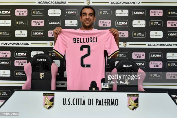 Giuseppe Bellusci poses during his presentation as new player of US Citta' di Palermo at Carmelo Onorato training session on August 2 2017 in Palermo...