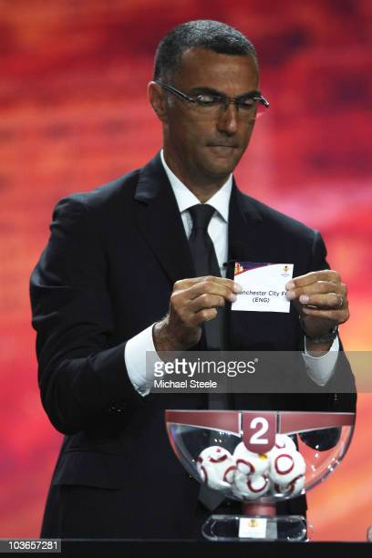 Giuseppe Bergomi ex Juventus footballer draws Manchester City into Group A during the UEFA Europa League Group Stage Draw at the Grimaldi Forum on...