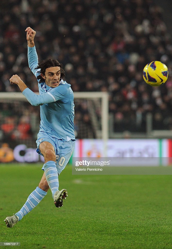 Giuseppe Biava of S.S. Lazio in action during the TIM cup match between Juventus FC and S.S. Lazio at Juventus Arena on January 22, 2013 in Turin, Italy.
