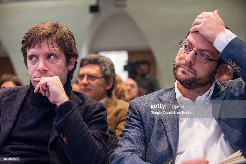 Giuseppe Civati (L), from PD Democratic Party and Andrea Romano, from Lista Monti, attend the press conference for the presentation of Google Elections 2013 on January 22, 2013 in Rome, Italy. The Google platform elections, organized in collaboration with the newspaper La Stampa and the TV channel La7, brings for the first time in Italy a new model of citizen participation on the web, which has already been successfully tested by Google in elections in the U.S., in France, Germany and other countries of the world.