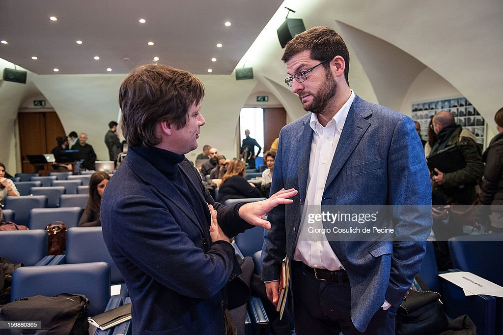 Giuseppe Civati (L), from PD Democratic Party and Andrea Romano, from Lista Monti, talk prior the press conference for the presentation of Google Elections 2013 on January 22, 2013 in Rome, Italy. The Google platform elections, organized in collaboration with the newspaper La Stampa and the TV channel La7, brings for the first time in Italy a new model of citizen participation on the web, which has already been successfully tested by Google in elections in the U.S., in France, Germany and other countries of the world.