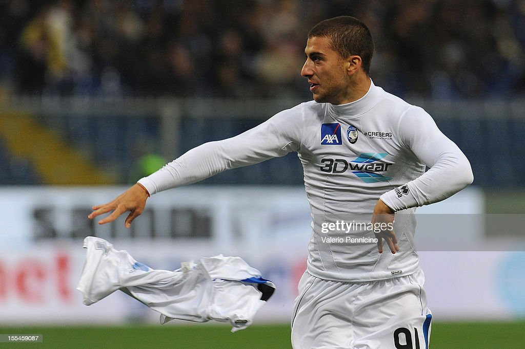 Giuseppe De Luca of Atalanta BC celebrates after scoring during the Serie A match between UC Sampdoria and Atalanta BC at Stadio Luigi Ferraris on November 4, 2012 in Genoa, Italy.