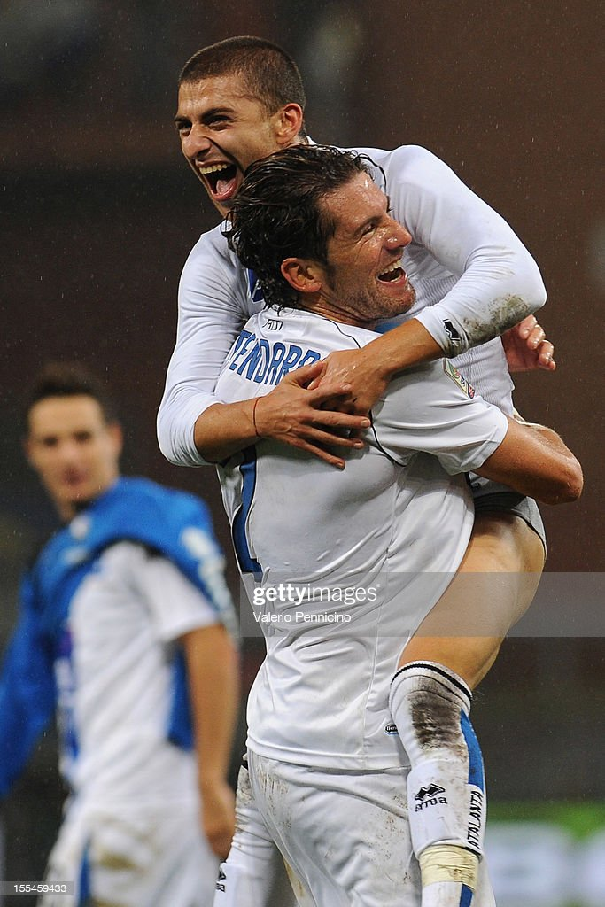 Giuseppe De Luca (L) of Atalanta BC celebrates victory with Guglielmo Stendardo at the end of the Serie A match between UC Sampdoria and Atalanta BC at Stadio Luigi Ferraris on November 4, 2012 in Genoa, Italy.